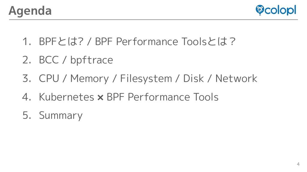 4 1. BPFとは? / BPF Performance Toolsとは? 2. BCC /...