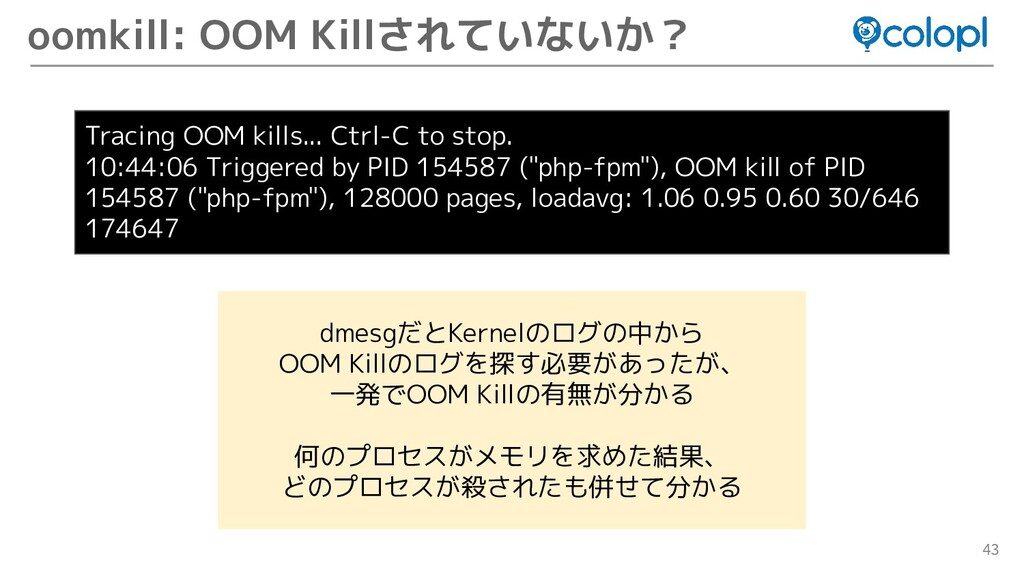 43 oomkill: OOM Killされていないか? Tracing OOM kills....