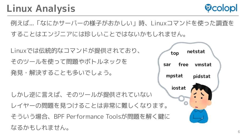 6 例えば...「なにかサーバーの様子がおかしい」時、Linuxコマンドを使った調査を するこ...