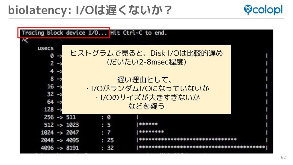 62 biolatency: I/Oは遅くないか? ヒストグラムで見ると、Disk I/Oは比...