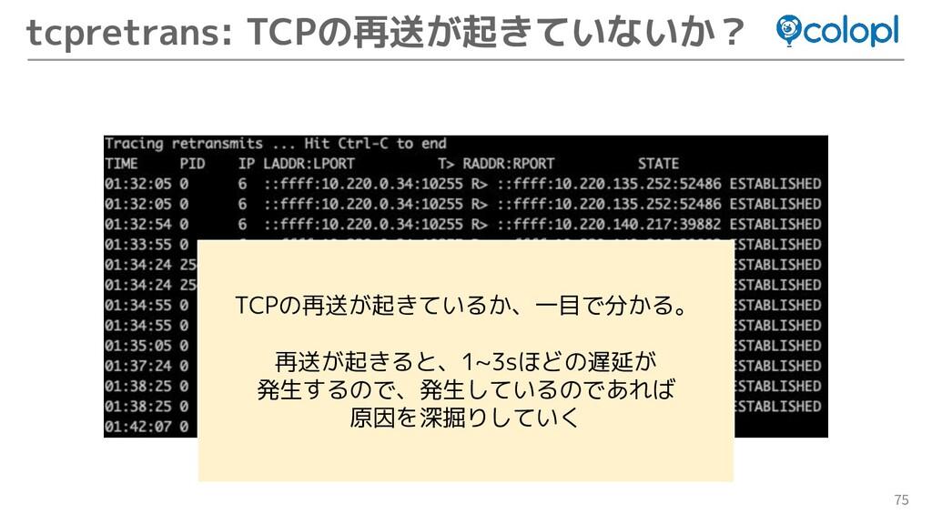 75 tcpretrans: TCPの再送が起きていないか? TCPの再送が起きているか、一目...