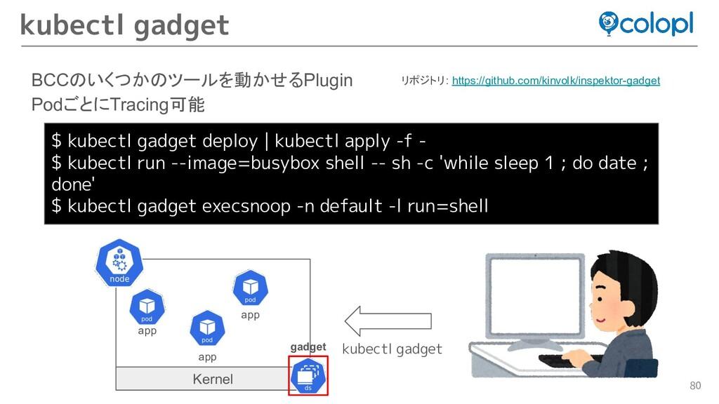 80 BCCのいくつかのツールを動かせるPlugin PodごとにTracing可能 kube...