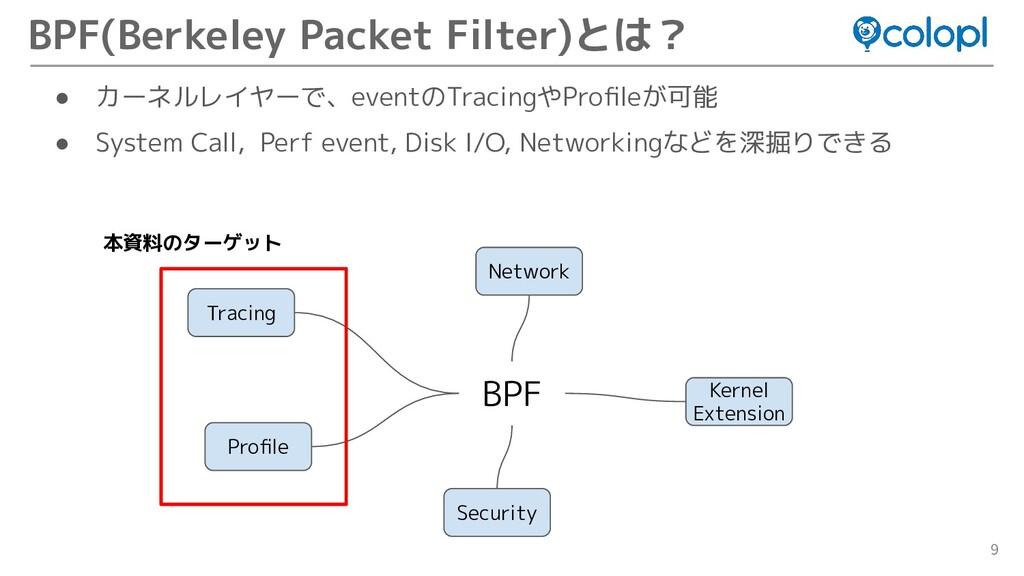 9 ● カーネルレイヤーで、eventのTracingやProfileが可能 ● System ...