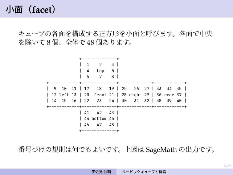 8/22 小面(facet) キューブの各面を構成する正方形を小面と呼びます。各面で中央 を除...