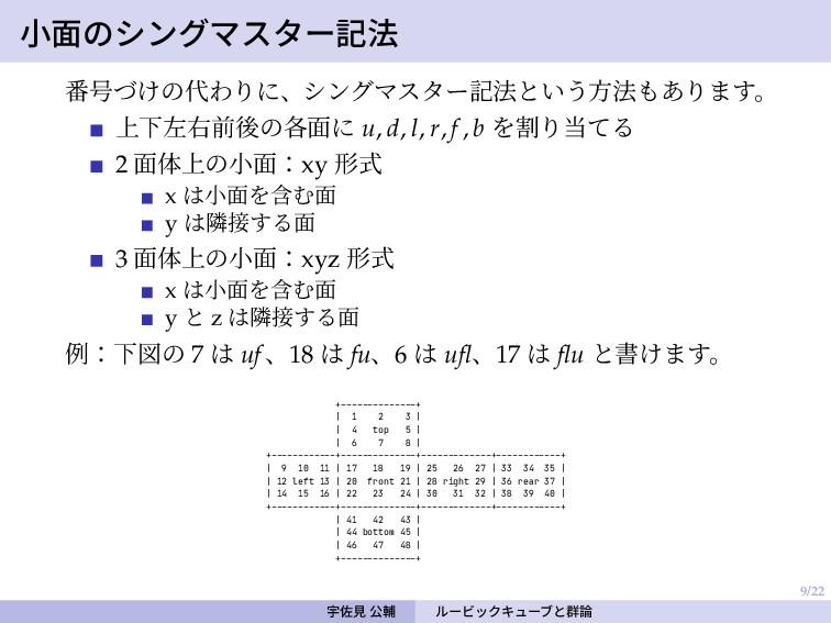 9/22 小面のシングマスター記法 番号づけの代わりに、シングマスター記法という方法もあります...