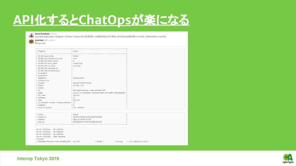 Interop Tokyo 2016 API化するとChatOpsが楽になる