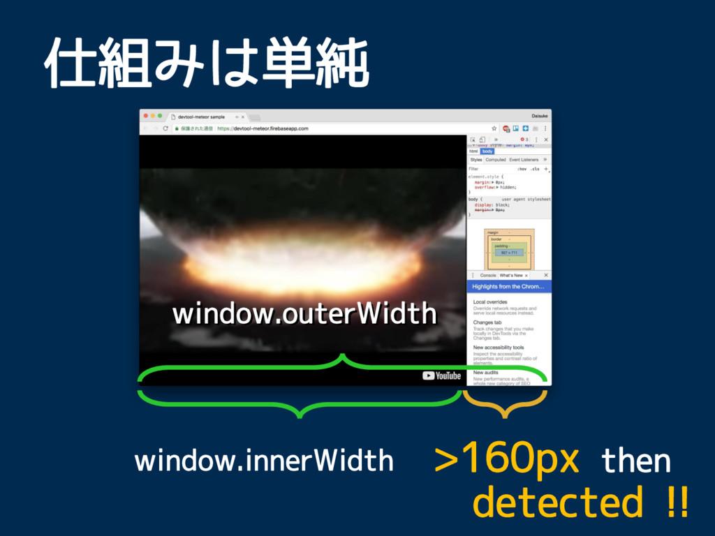 window.outerWidth window.innerWidth 仕組みは単純 >160...