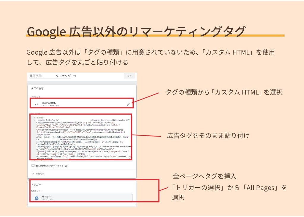Google 広告以外のリマーケティングタグ 全ページへタグを挿入 Google 広告以外は「...