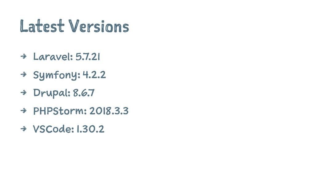 Latest Versions 4 Laravel: 5.7.21 4 Symfony: 4....