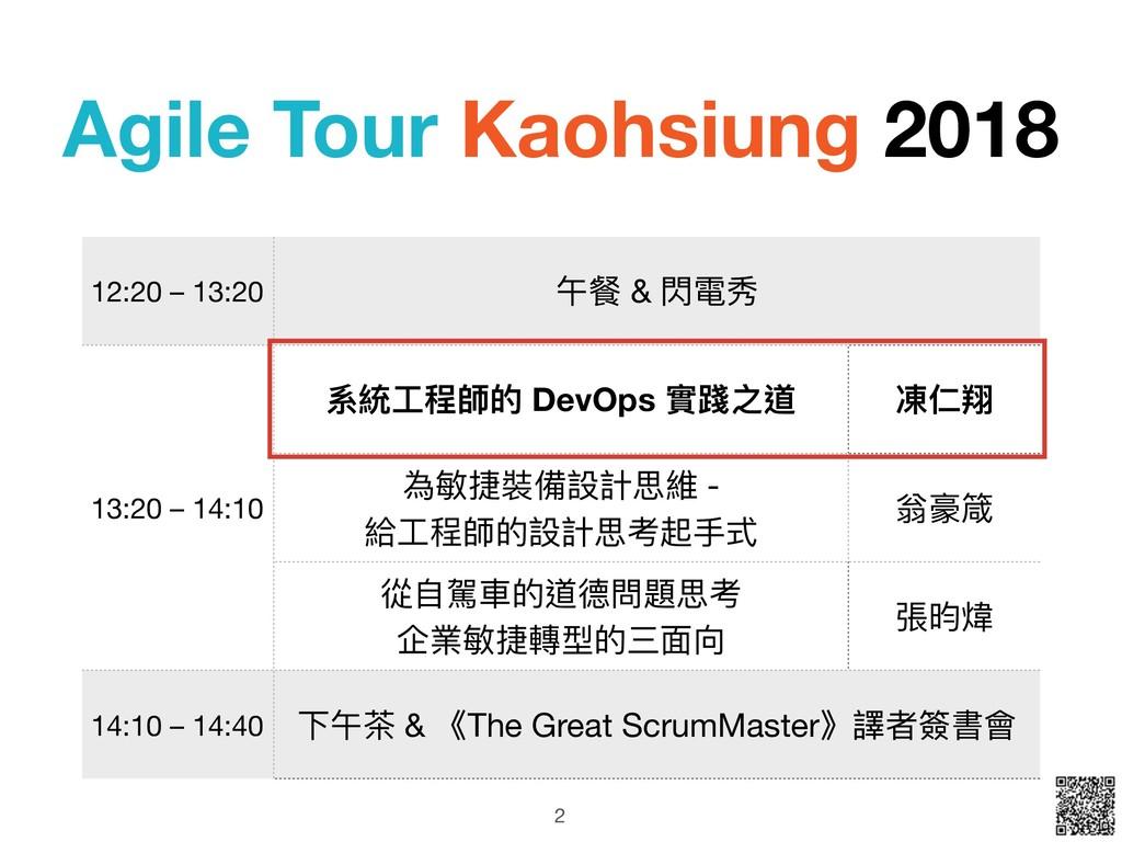 Agile Tour Kaohsiung 2018 2 12:20 – 13:20 午餐 & ...