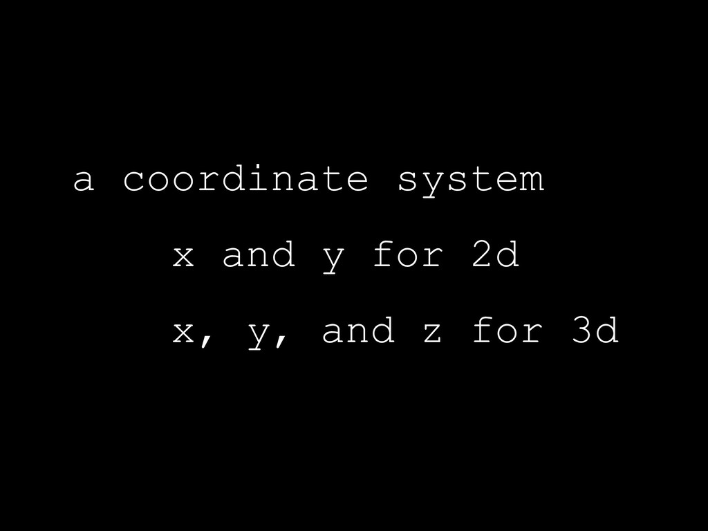 a coordinate system x and y for 2d x, y, and z ...