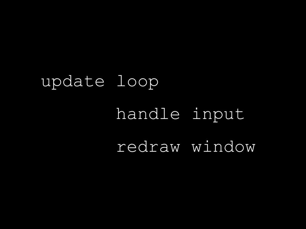 update loop handle input redraw window