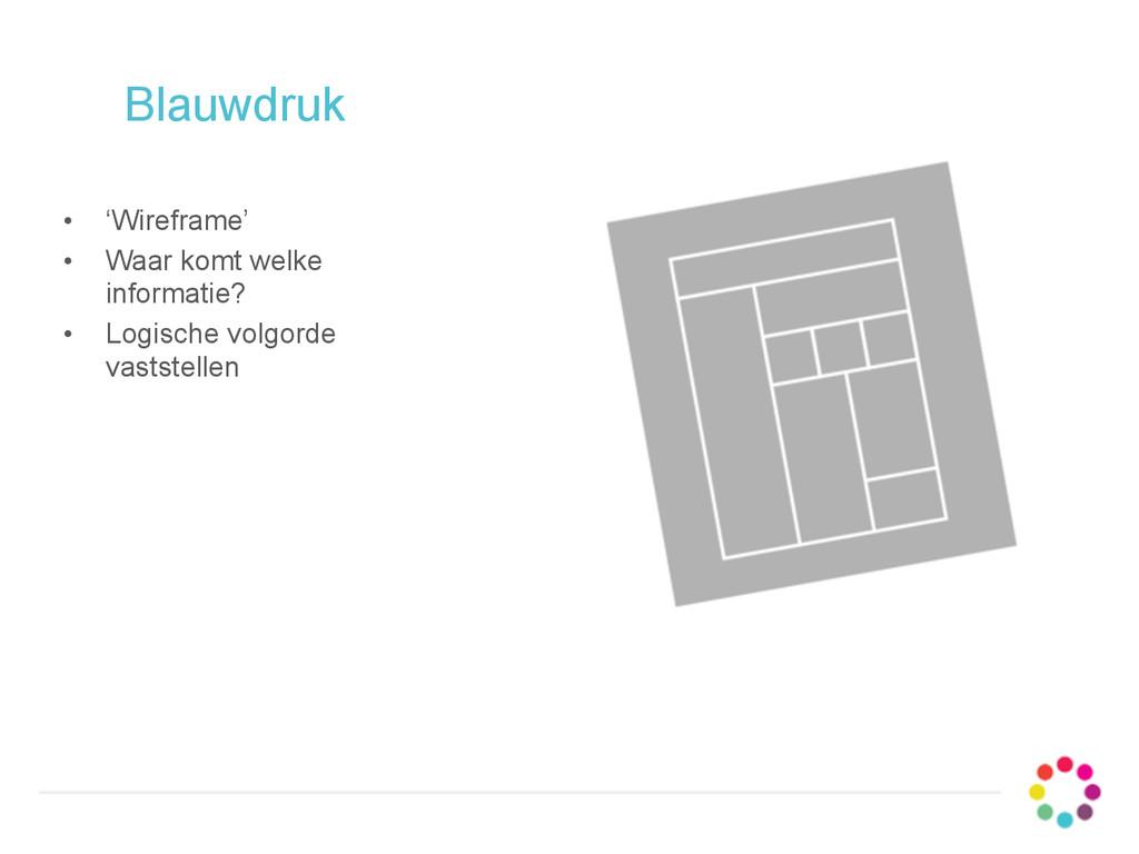 Blauwdruk • 'Wireframe' • Waar komt welke infor...