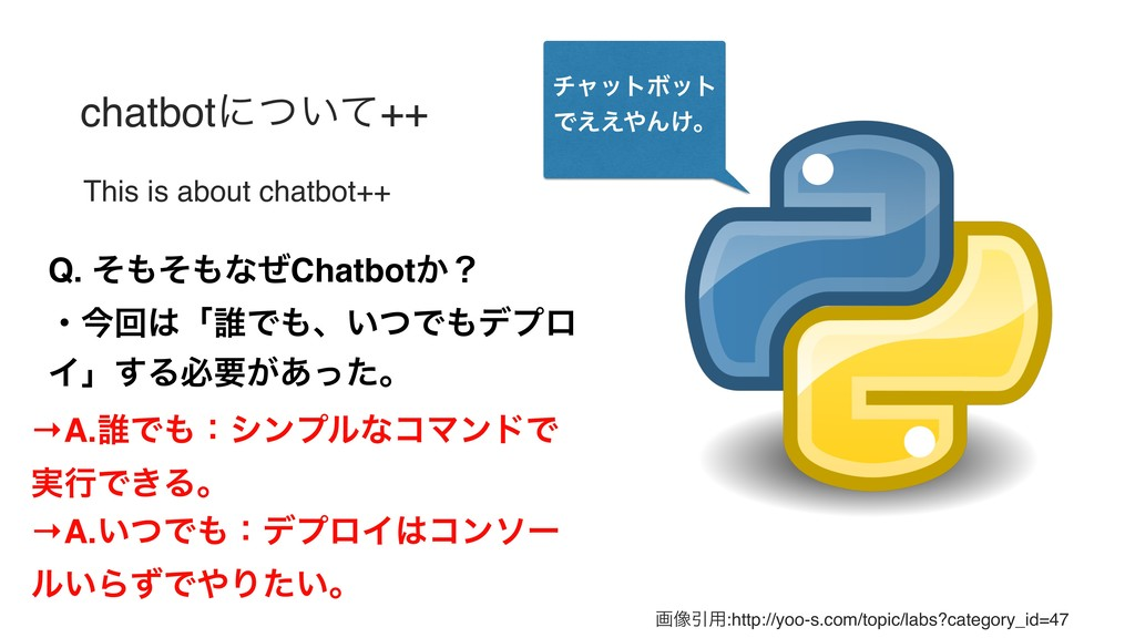 chatbotʹ͍ͭͯ++ This is about chatbot++ Q. ͦ΋ͦ΋ͳͥ...
