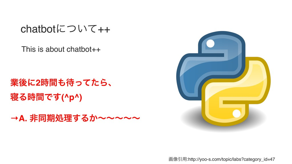 chatbotʹ͍ͭͯ++ This is about chatbot++ ۀޙʹ2࣌ؒ΋଴ͬ...