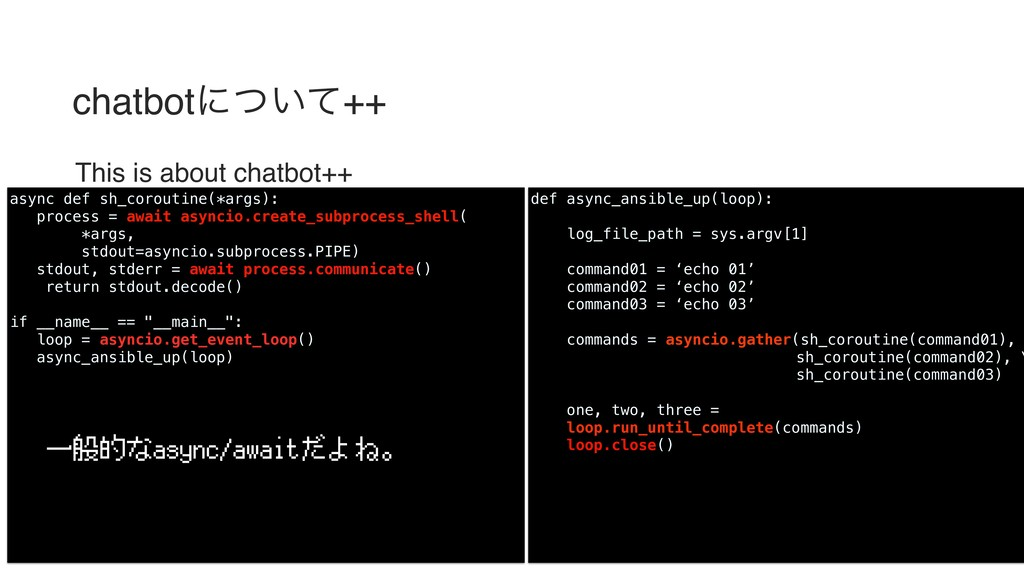 chatbotʹ͍ͭͯ++ This is about chatbot++ def async...