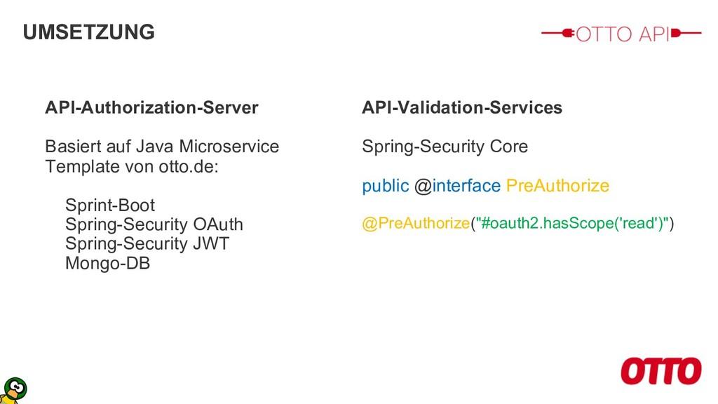 UMSETZUNG API-Authorization-Server Basiert auf ...