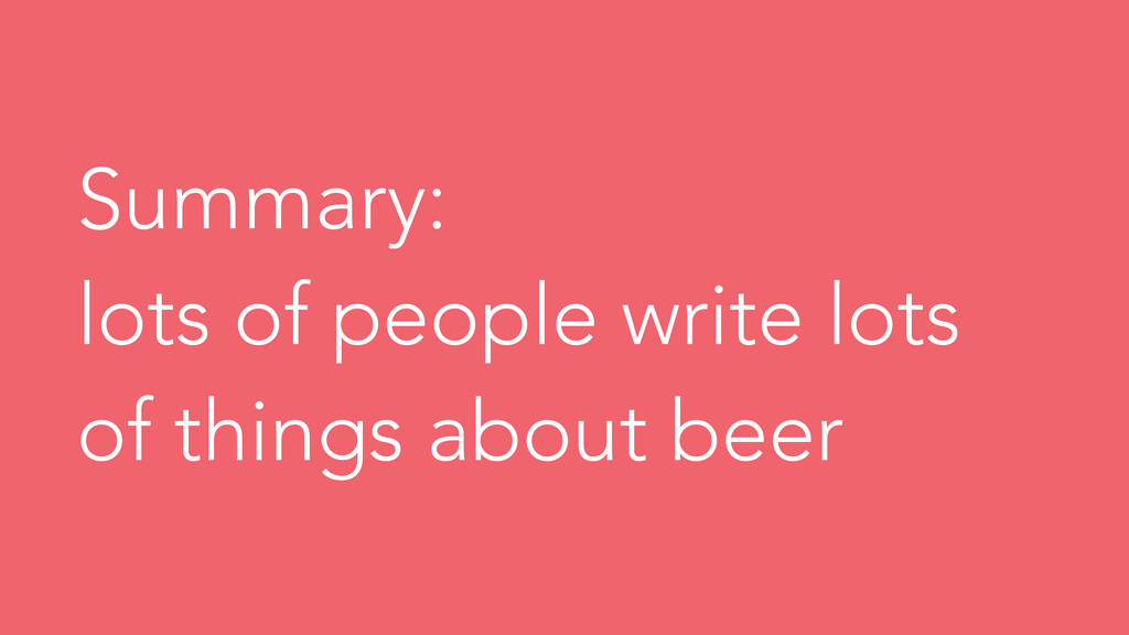 Summary: lots of people write lots of things ab...