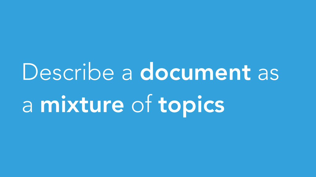 Describe a document as a mixture of topics