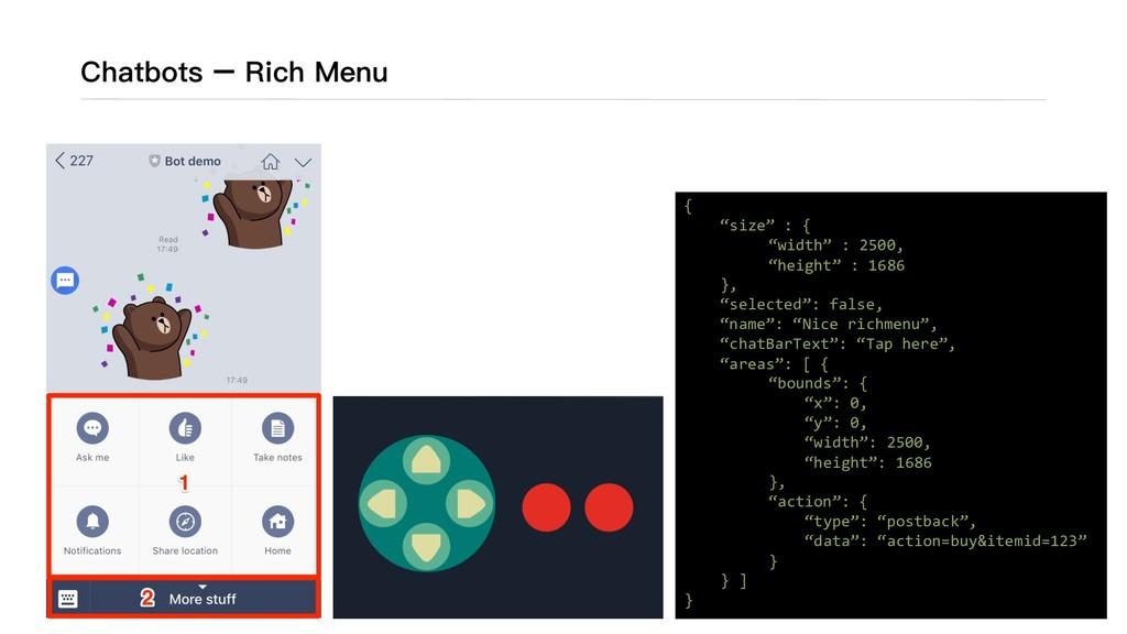 Chatbots – Rich Menu ※資料來來源 ***** ***** ***** *...