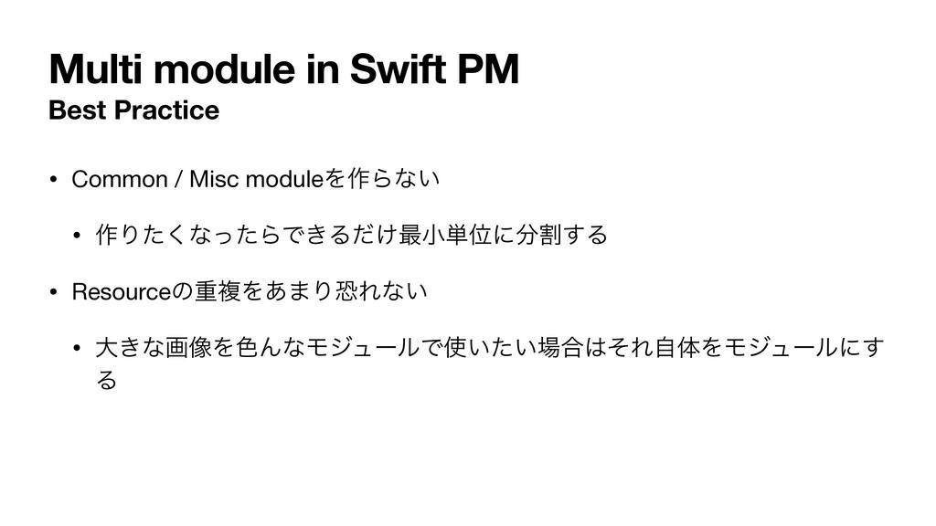 Multi module in Swift PM Best Practice • Common...