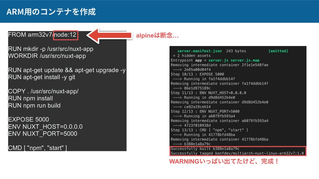 ARM⽤のコンテナを作成 FROM arm32v7/node:12 RUN mkdir -p ...