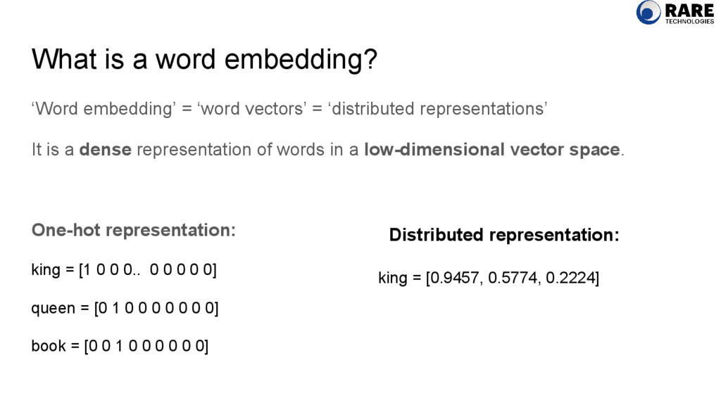 What is a word embedding? 'Word embedding' = 'w...
