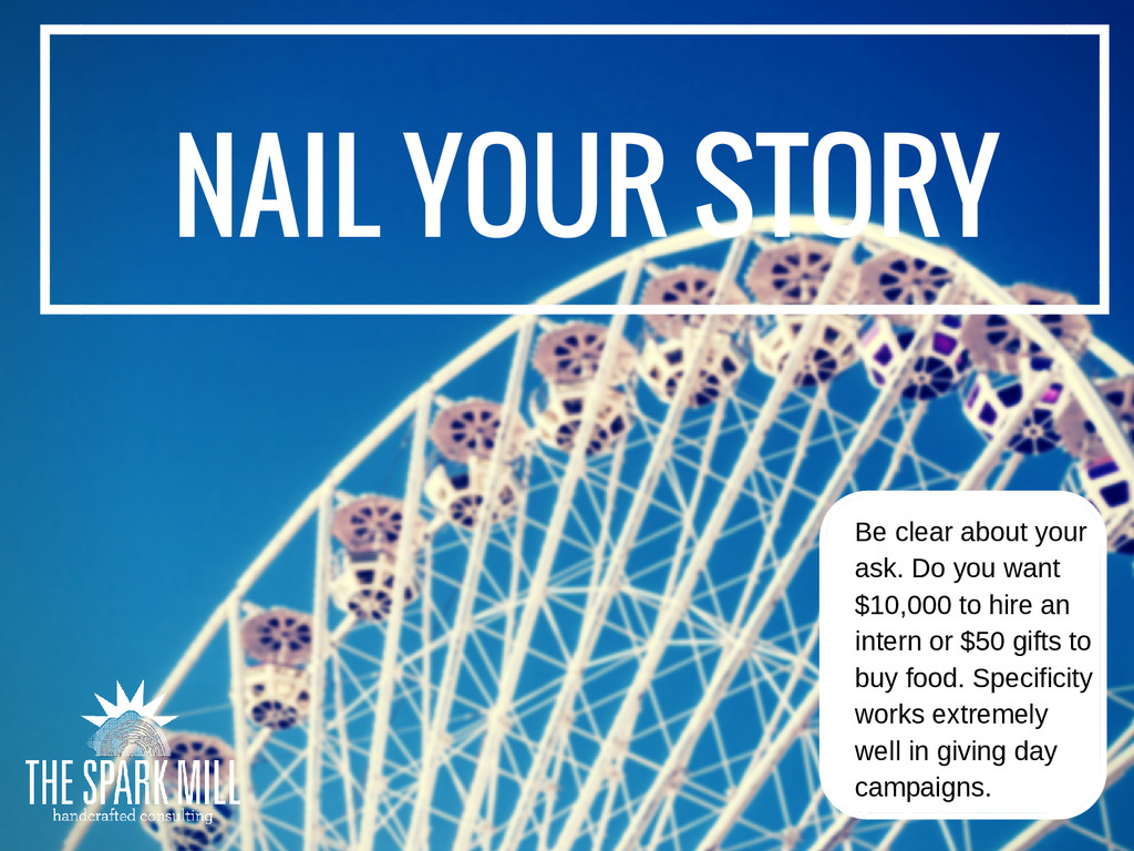 NAIL YOUR STORY Be clear about your ask. Do you...