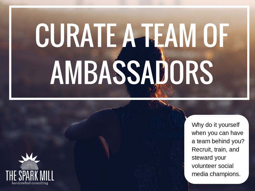 CURATE A TEAM OF AMBASSADORS Why do it yourself...