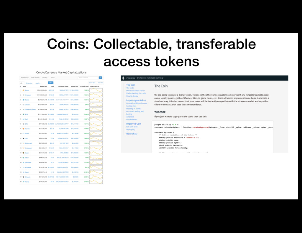 Coins: Collectable, transferable access tokens