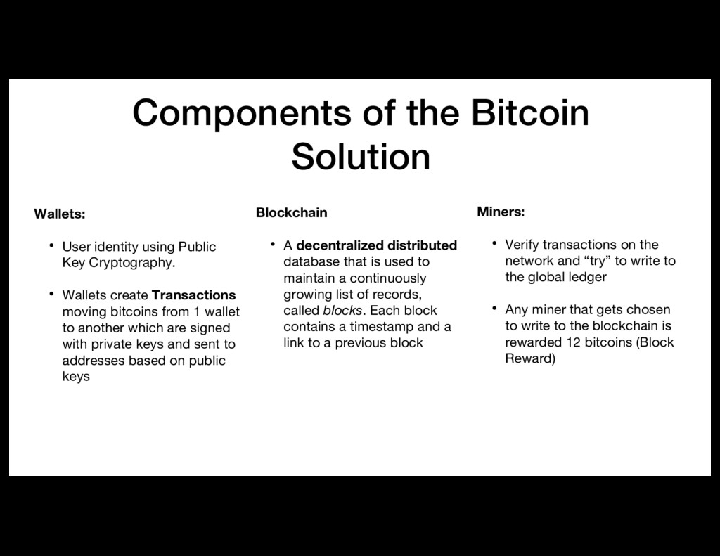 Components of the Bitcoin Solution Wallets: • U...