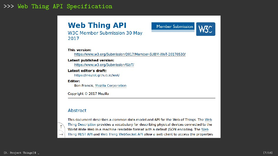 >>> Web Thing API Specification [3. Project Thi...