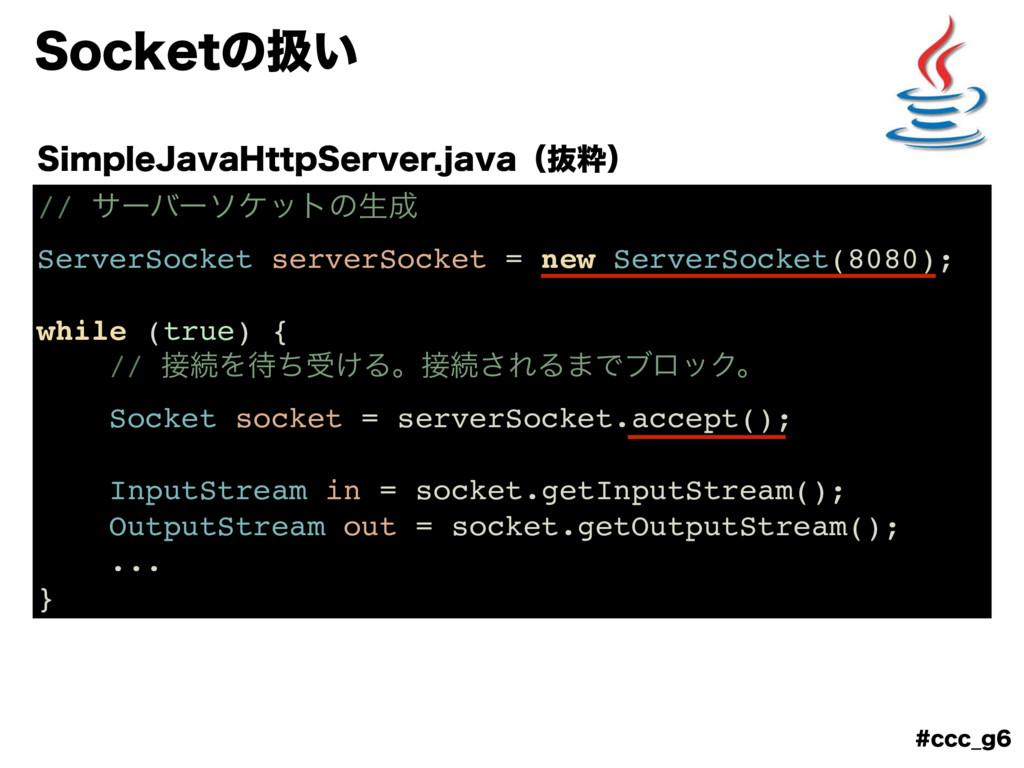 DDD@H 4PDLFUͷѻ͍ // αʔόʔιέοτͷੜ ServerSocket s...