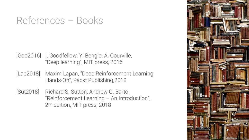 References – Books [Goo2016] I. Goodfellow, Y. ...