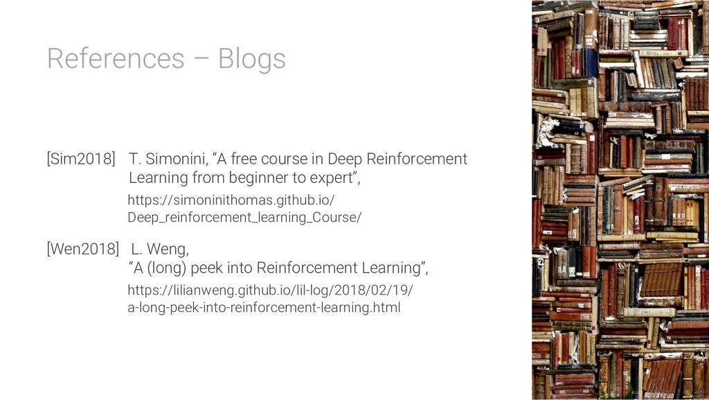 "References – Blogs [Sim2018] T. Simonini, ""A fr..."