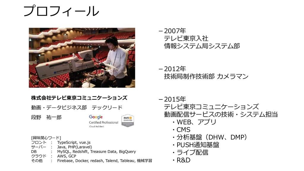 -2007年  テレビ東京入社  情報システム局システム部 -2012年  技術局制作技術部 ...
