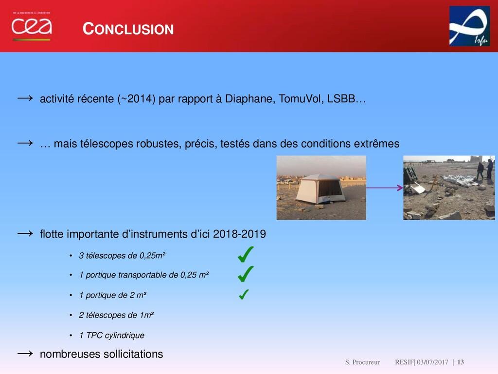 CONCLUSION   13 → activité récente (~2014) par ...