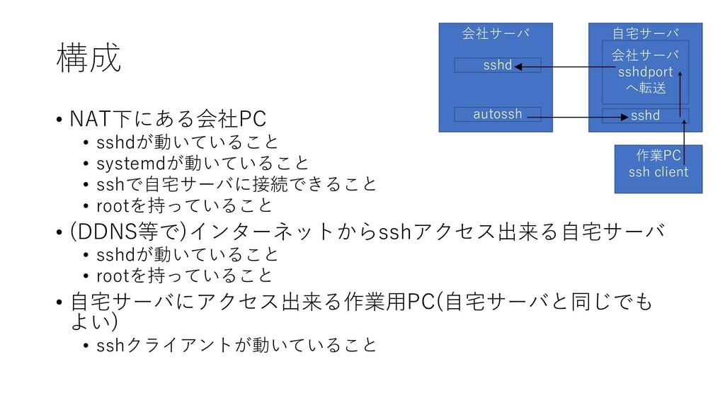 構成 • NAT下にある会社PC • sshdが動いていること • systemdが動いている...