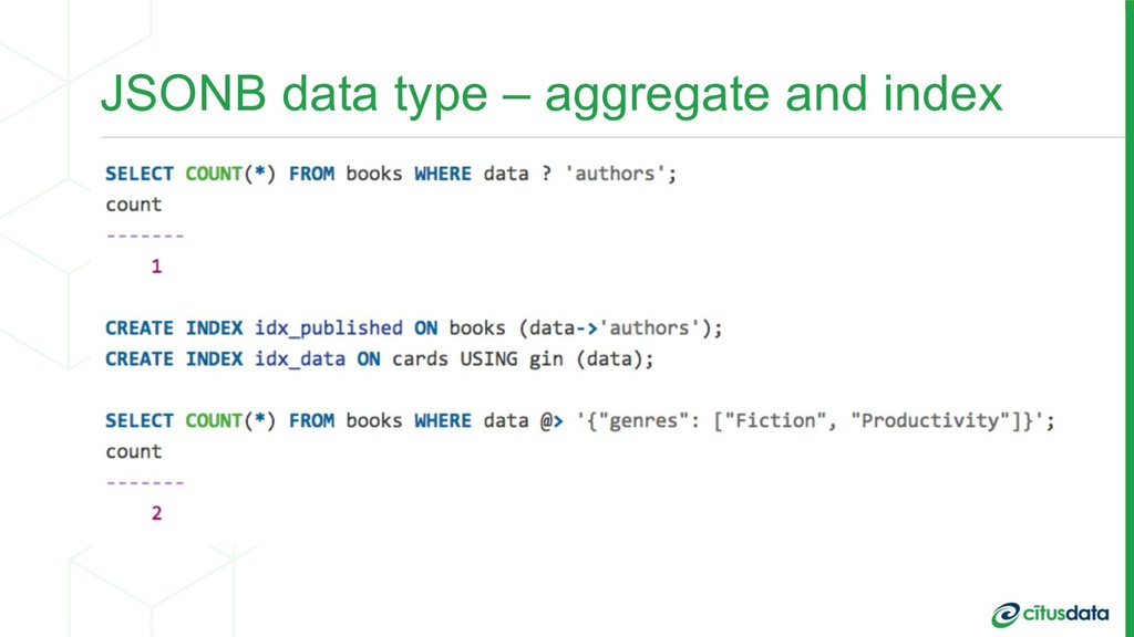 JSONB data type – aggregate and index