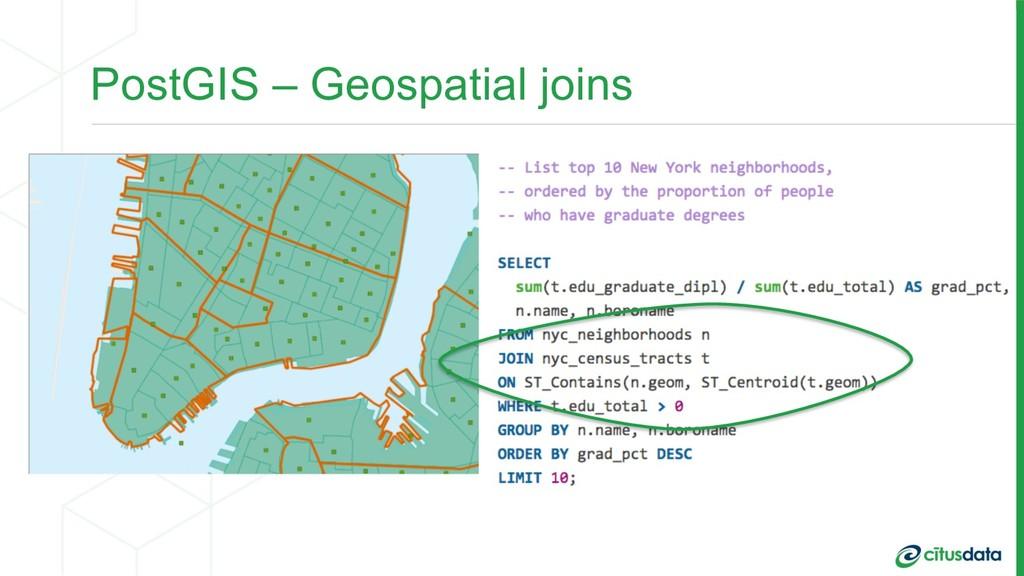 PostGIS – Geospatial joins