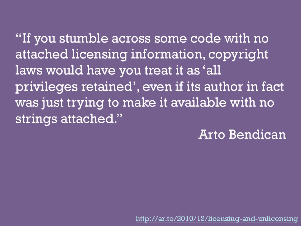 """""""If you stumble across some code with no attach..."""
