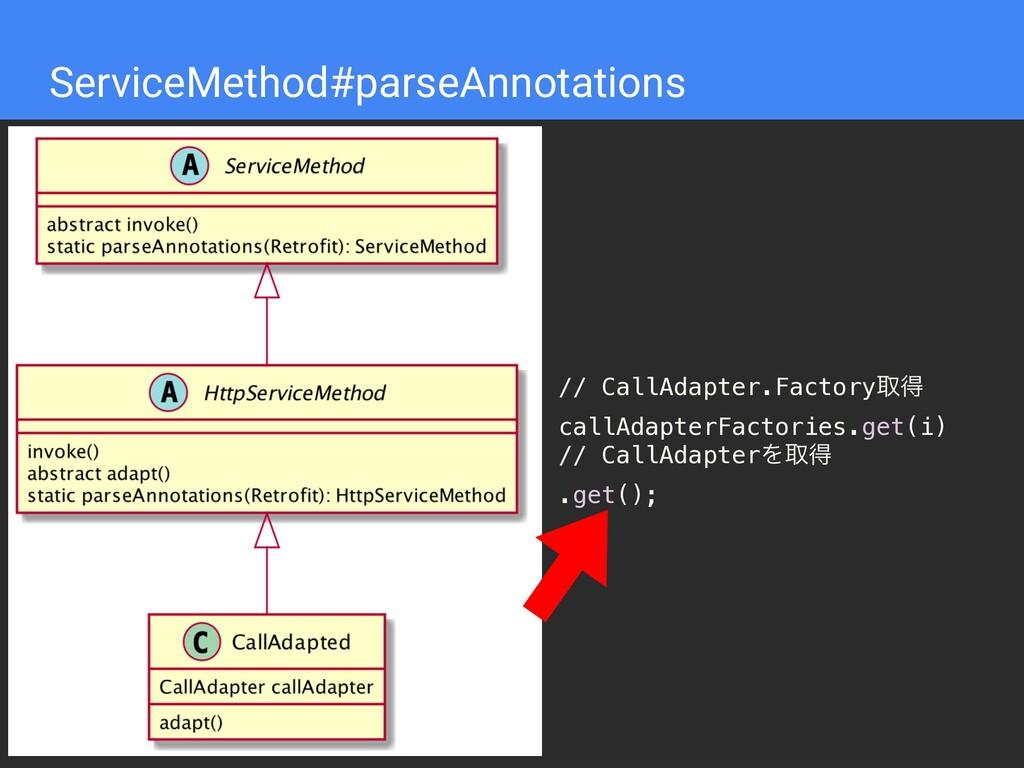 ServiceMethod#parseAnnotations // CallAdapter.F...