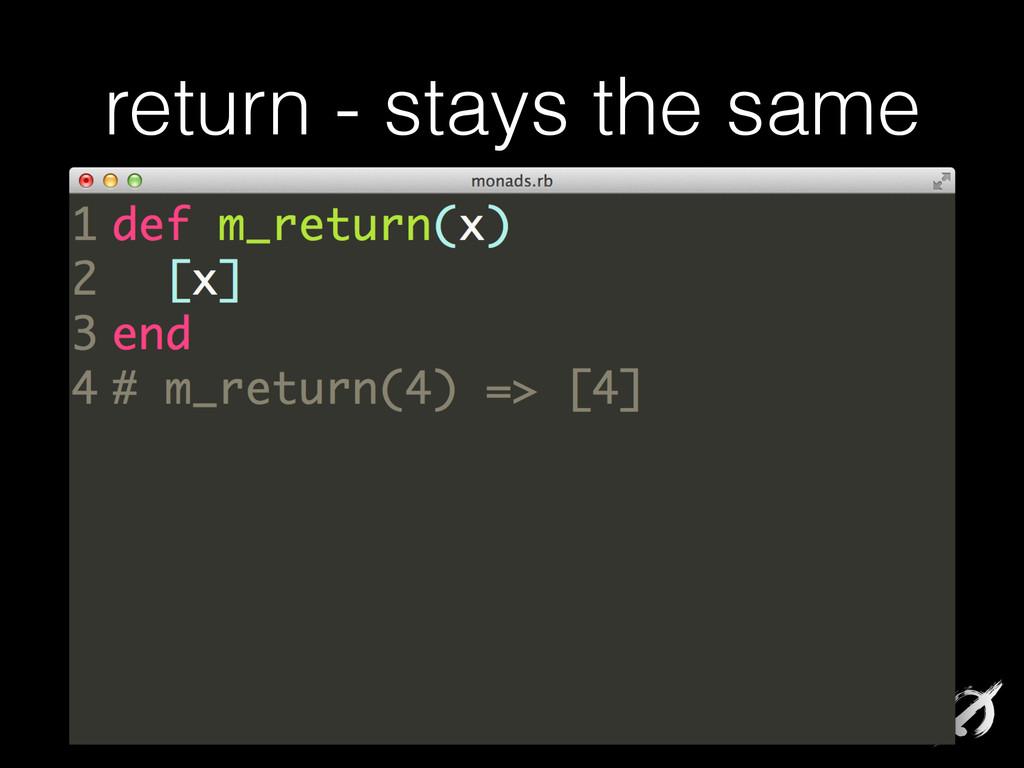 return - stays the same