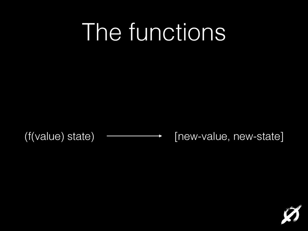 The functions (f(value) state) [new-value, new-...