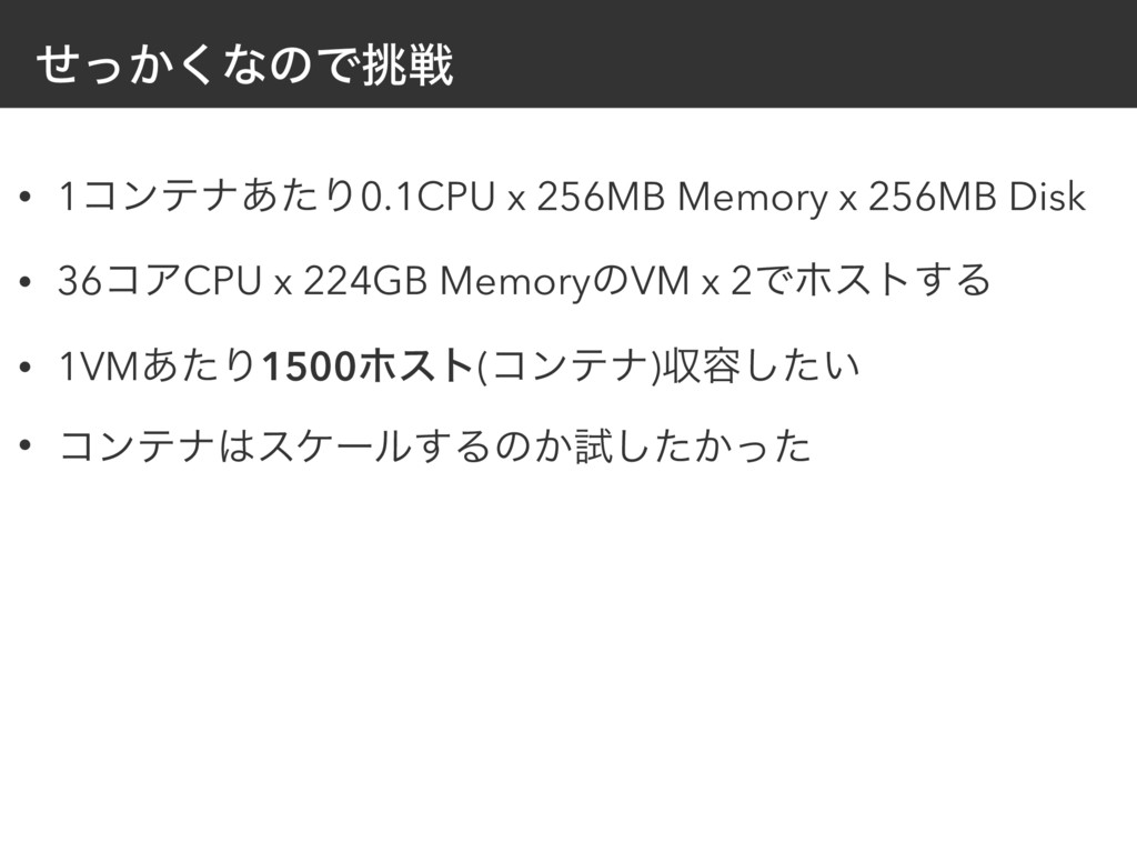 ͔ͤͬ͘ͳͷͰઓ • 1ίϯςφ͋ͨΓ0.1CPU x 256MB Memory x 256...