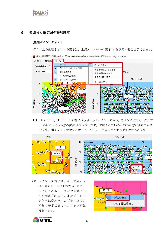 24 6 領域分け指定図の詳細設定 [色票ポイントの表示] グラフ上の色票ポイントの表示は、上...