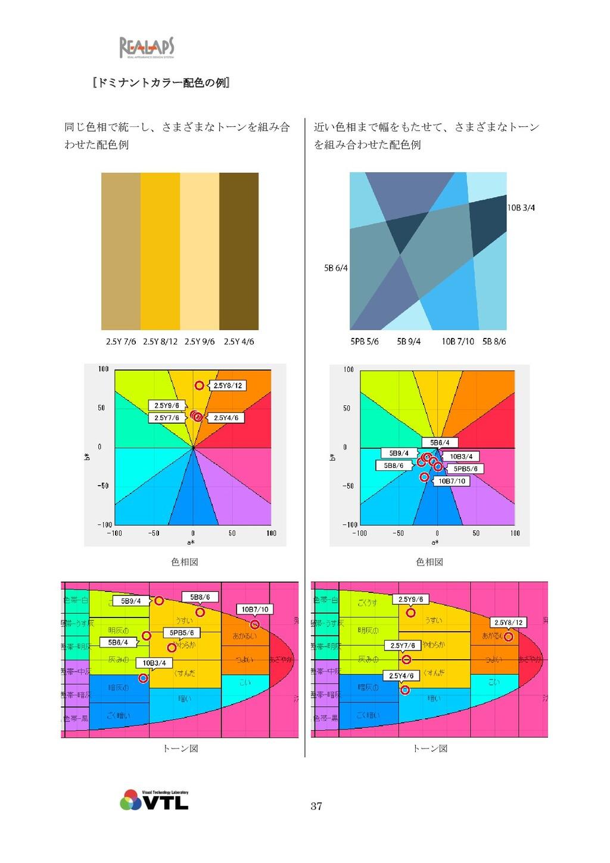 37 [ドミナントカラー配色の例] 同じ色相で統一し、さまざまなトーンを組み合 わせた配色例 ...