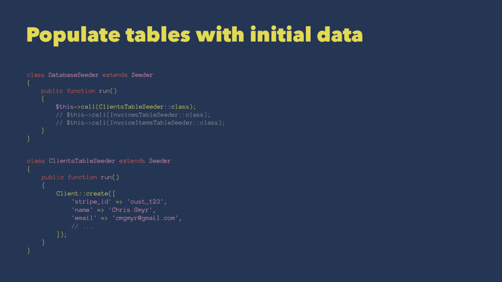 Populate tables with initial data class Databas...