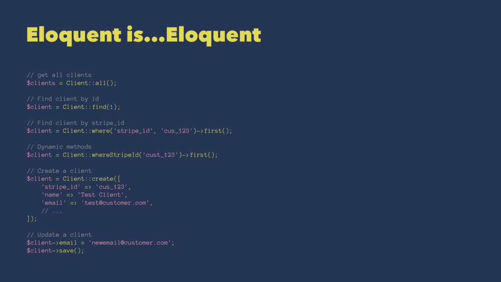 Eloquent is...Eloquent // get all clients $clie...