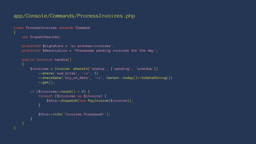 app/Console/Commands/ProcessInvoices.php class ...